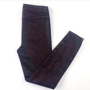 Ted Baker wine coated canvas skinny zipper pants